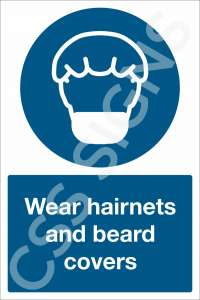 Wear Hairnets and Beard Covers Sign
